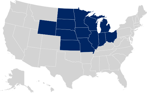 ISA Midwest - Midwest region map